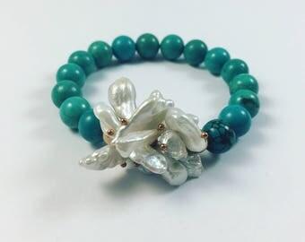 Freshwater Pearl and Howlite Bracelet