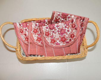 Pink Embroidered silk pouch