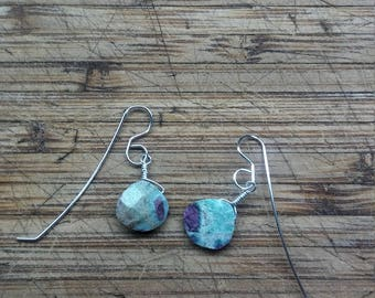 Ruby in Fuchsite dangle earrings