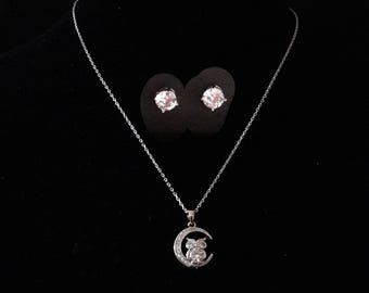 Night Owl necklace and earrings-jewelry sets