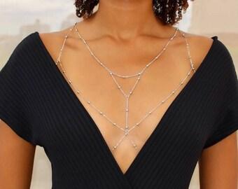 Layered Silver Chain Bralette / Silver Body Chain / Silver Chain Bra/ Body Harness / Body Jewelry / Silver Bra Chain / Bra Cage