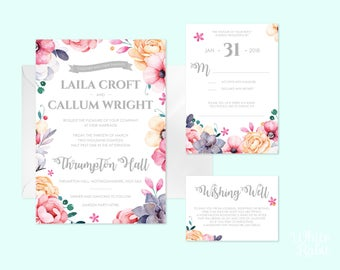 Printable Spring or Summer English Wedding Invitation Suite including Invite, RSVP, Gift Poem & Save the Date