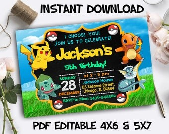 Pokemon Invitation Instant Download, Pokemon Invitation Editable, Pokemon PDF Editable, Pokemon Editable Template, Pokemon Birthday Card