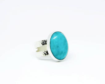 Teal Textured Silver Ring