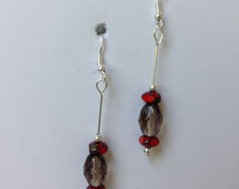 Smoky Glass Bead with Orange-Red Accent Dangle Earrings; Earrings under 10; Gifts for Her; Lightweight