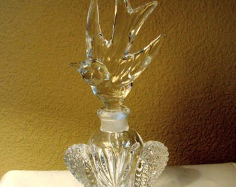 Footed Perfume Bottle with Bird Shaped Stopper