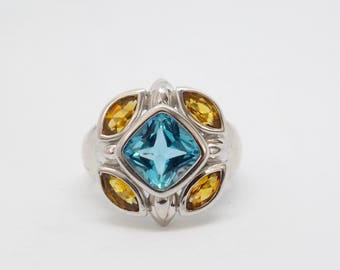 Beautiful ring set silver with color stones