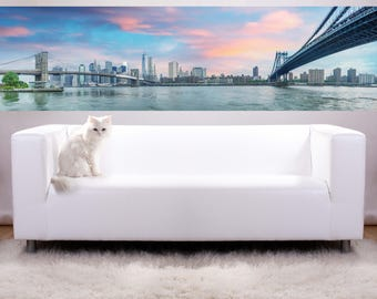 Removable Wallpaper Mural Peel & Stick New York City Panoramic View of Brooklyn and Manhattan Bridge with Skyline