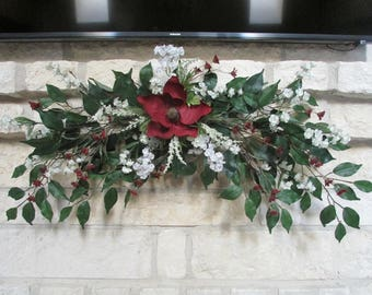Custom Floral Swag for Mantle, Wall Decor, or Over the Door Swag