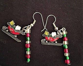 Handcrafted Santa's Sleigh seed bead earrings