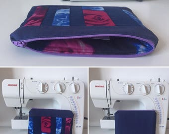 Handmade Navy Blue Canvas Zipped and Lined Make-Up Bag with Abstract Pink & Blue Rose Print