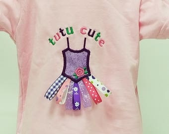 tutu cute embroidered t-shirt with applique and ribbons