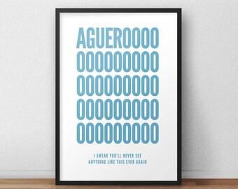 Manchester City Aguero Print, Football Art, Football Poster, Football Gift