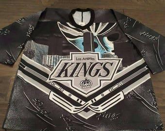 Vintage 90's LA Kings 3/4 length sleeve jersey size L CCM