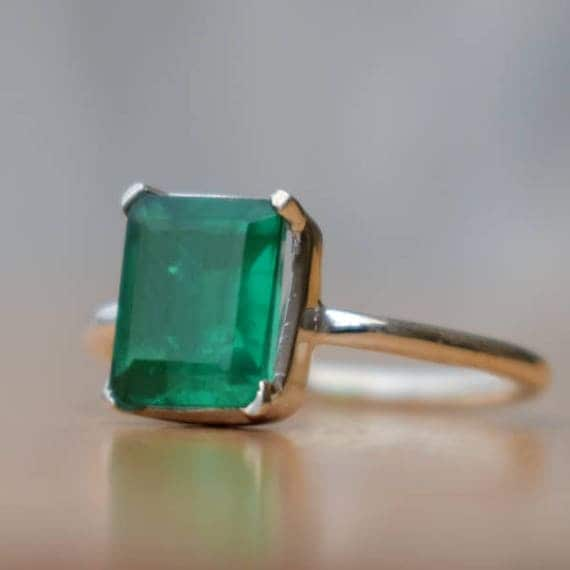 Emerald Ring-Square Green Emerald Ring-925 Sterling Silver Ring-May Birthstone Ring-Handmade Jewelry-Unique Gift Ring-Beautiful Green Ring.
