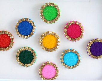9 Bridal Round Bindis,Wedding Round Bindis,Velvet Multicolor Bindis,Colorful Face Bindis,Bollywood Bindis,Self Adhesive Stickers