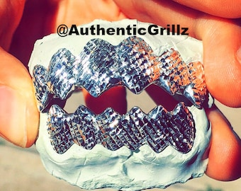 Authentic Custom Shark Teeth Grill with Trillion Cut in either Silver925, 10KT Gold, 14KT Gold, or 18KT Gold Grillz