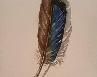 Blue Jay Feather 2 - original watercolor paintng