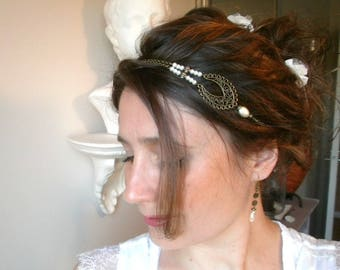 Retro and romantic ivory bridal headband, metal bronze and ivory colored glass beads, complete set
