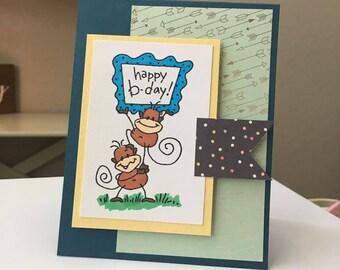 Happy Birthday Handmade Greeting Card with Monkeys -- FREE ship!