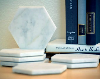 EIGHT Marble Hexagon Coasters - Geometric Coasters - Set of 8
