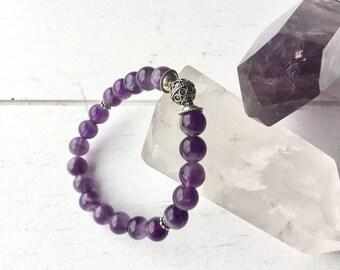 Amethyst Bracelet, Gemstone Bracelet, Boho Jewelry