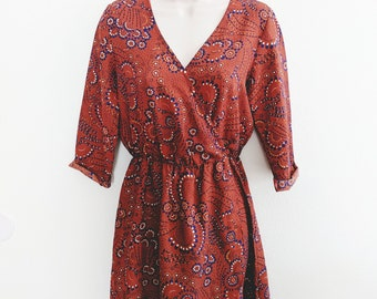 Vintage Russet Wrap-Front Dress with Boho Pattern - S
