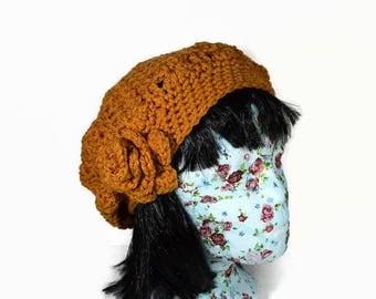 Chunky Crochet Hat, Mustard Crochet Hat, Ladies Slouch Hat, Crochet Slouch Beanie, Vegan Accessories,Autumn Accessories, Mustard Acrylic Hat