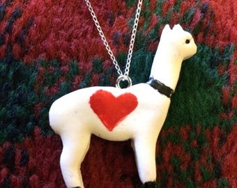 Alpaca pendant necklace - childrens jewellery - sterling silver chain - heart
