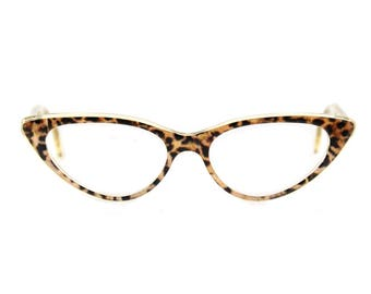 Cat eye glasses Beautiful, sexy, large, 'BARDOT'  'Ocelot Crystal'  1950s updated dramatic style for the woman who wants to be noticed