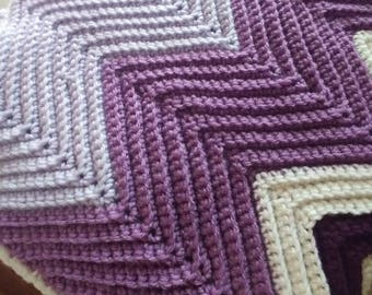 Crochet Throw Blanket/ Chevron Purple / white
