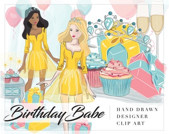 Birthday Babe Clip Art - Fashion Illustration - Balloons, Presents, Tiara, Cupcakes - Planner Stickers, Planner Girl - Digital Clipart