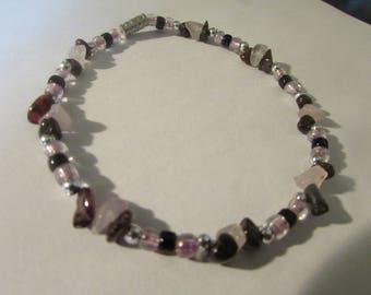 rose quartz and tourmaline beaded bracelet hippie boho native