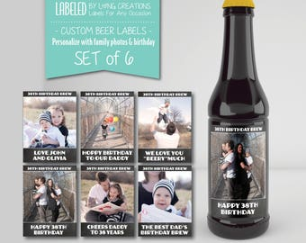 birthday beer labels - beer labels for dad - custom set of bottle stickers - birthday gift - gift for dad - personalize - waterproof labels