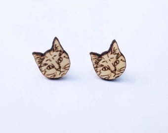 cute cats ear studs wood untreated