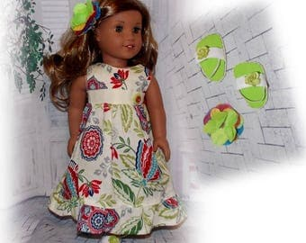 "3 Pc. Hawaiian Dress, Sandals & Flower Hair Clip.  Handmade Clothes for 18"" dolls.  (Clothes only, American Girl Doll is not included)"
