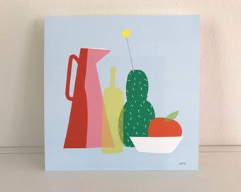 Colorful still life print 20x20cm