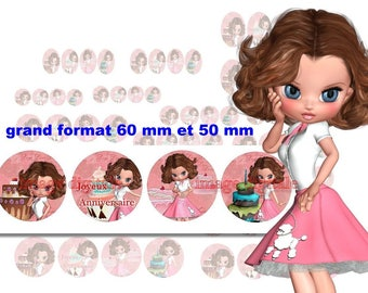 digital images 50 mm and 60mm for mirrors or other print miss birthday