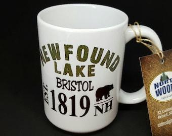 Newfound Lake with Bear Est 1819 Coffee Mug, Frosted Mug, Mason Jar