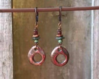 Antique Copper Earrings Dangle Earrings Bohemian Earrings Turquoise Earrings Blue Earrings Earthy Earrings Boho Jewelry