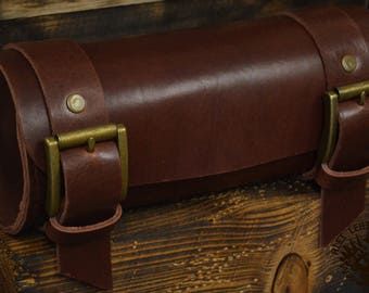 Handmade Leather Tool Roll Bordeaux