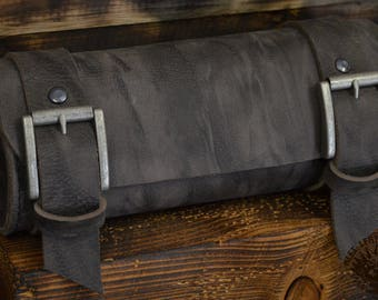 Handmade Leather Tool Roll Grey