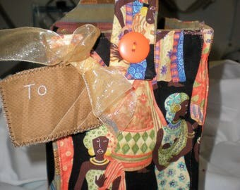 African Lady Fabric Gift Bag