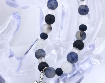 Gorgeous Lava Bead Bracelet with Cross Charm