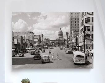 Downtown Congress Ave. Austin, Texas Capital 1940s - Print