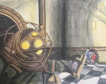 Bioshock Infinite Big Daddy and Little Sisters Watercolour Painting / postet / prop / video game art