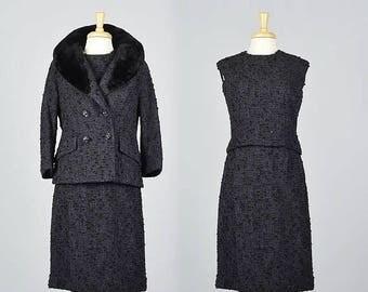 SALE Small 1960s Tweed Skirt Suit 60s Fur Collar Jacket Sleeveless Top Skirt Purple Tweed Skirt Suit Shawl Collar Sheared Beaver Vintage Jac