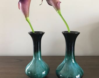 Mini BMP Green Glaze Vases | Vintage Pottery | Blue Mountain Pottery | Traditional Glaze