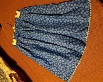 Girls cotton skirt size 8, Royal Blue w Light Blue Flowers, Light Blue Zig Zag Trim w Royal Blue Ribbon