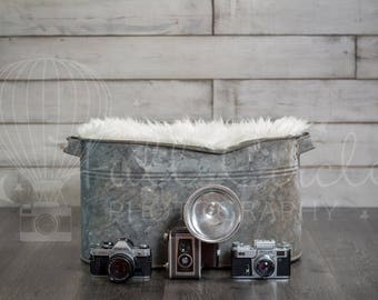 Digital Backdrops (Newborn Photography Prop. Newborn Digital Prop. Bucket With Fur, Vintage Cameras and Grey Wood Backdrop) Digital Download